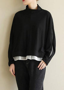 Classy black cotton tunic top open long sleeve Knee half high neck tops