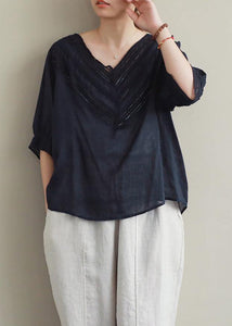 Classy black hollow out linen clothes v neck half sleeve Midi blouses