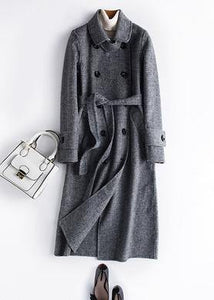 Classy black plaid fine Long Woolen CoatsPhotography Notched tie waist fall Woolen Coats