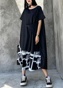 Classy black print clothes For Women o neck asymmetric Robe summer Dress