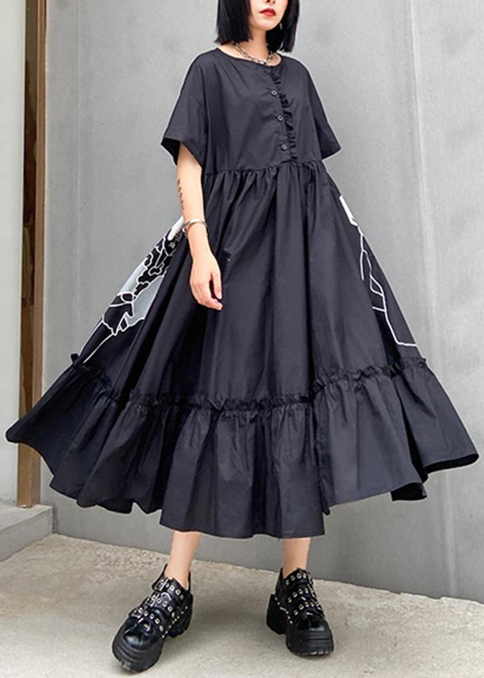 Classy black print cotton clothes o neck wrinkled cotton robes summer Dresses