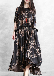 Classy black print dress o neck false two pieces Maxi Dress