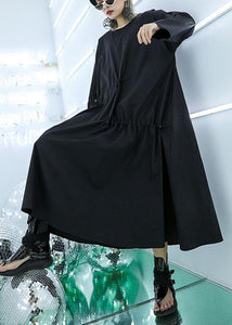 Classy black prints cotton blouses for women drawstring Vestidos De Lino fall top