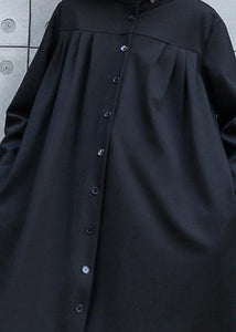 Classy black top quality outfit Work Outfits stand collar Button fall coat