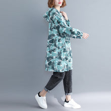 Load image into Gallery viewer, Classy blue Cotton tunic dress Pakistani Fashion Ideas hooded Art print Dresses