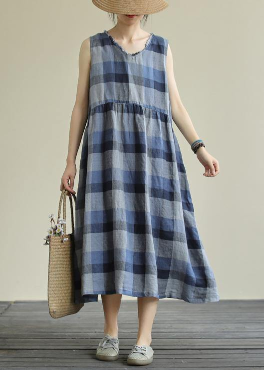 Classy blue plaid cotton clothes o neck pockets Art Dresses