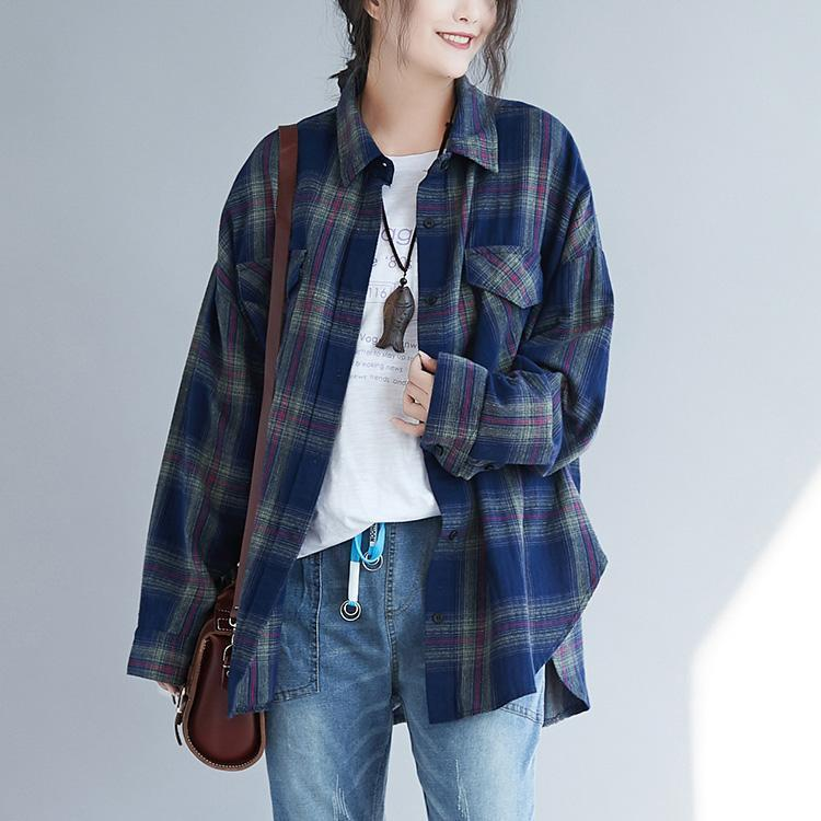 Classy blue plaid cotton linen tops women Fashion design side open daily spring top