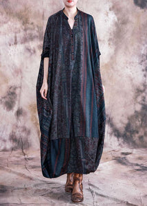 Classy blue print clothes v neck Batwing Sleeve Maxi fall Dresses