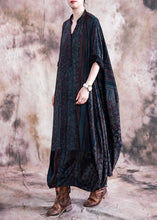 Load image into Gallery viewer, Classy blue print clothes v neck Batwing Sleeve Maxi fall Dresses