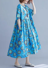 Load image into Gallery viewer, Classy blue print cotton dresses o neck pockets Kaftan summer Dresses