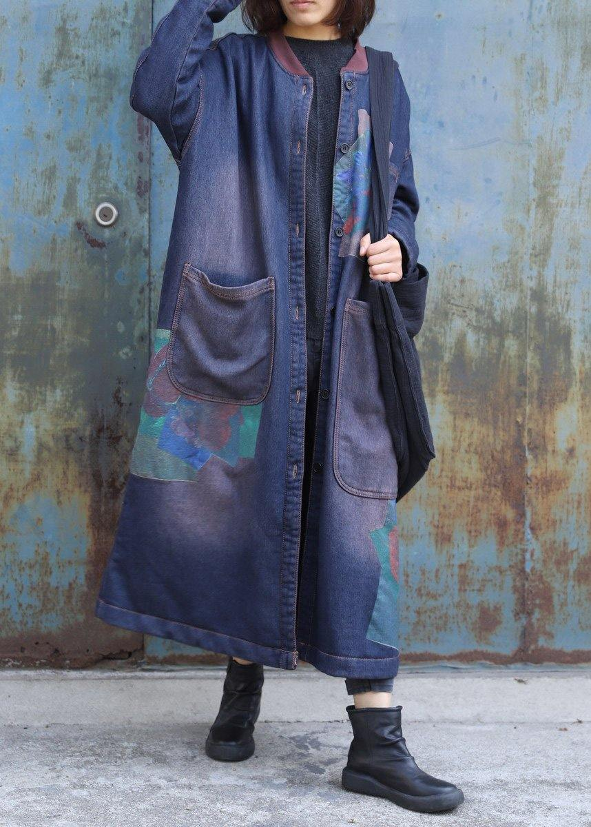 Classy blue prints Fashion trench coat Inspiration two big pockets thick coats