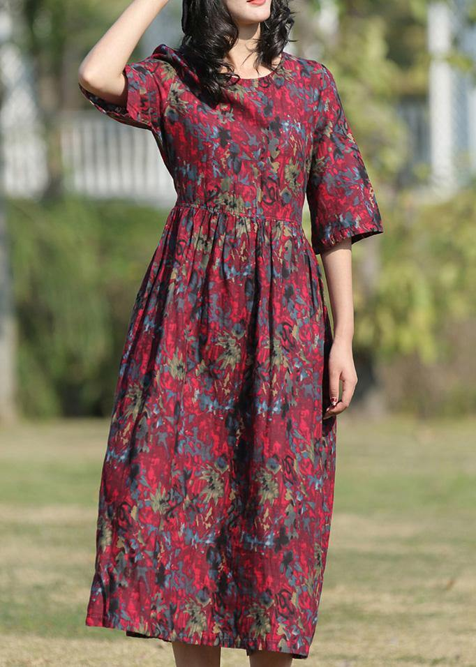 Classy burgundy prints linen Wardrobes o neck long summer Dress