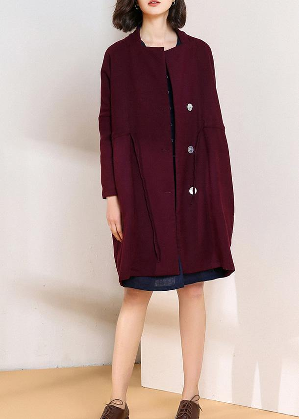 Classy burgundy top quality trench coat Shape drawstring double breast women coats