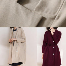 Load image into Gallery viewer, Classy burgundy fine trench coat Shape drawstring double breast women coats