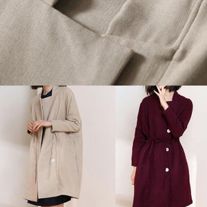 Classy burgundy fine trench coat Shape drawstring double breast women coats