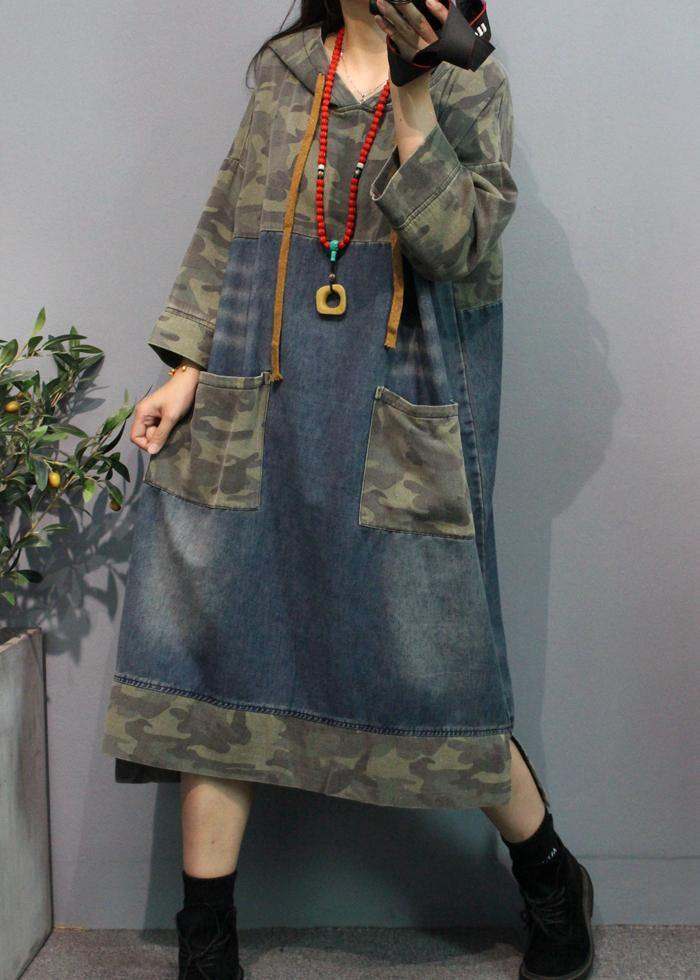 Classy camouflage cotton clothes For Women hooded pockets Traveling Dress