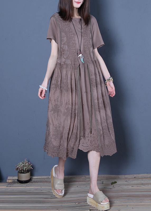 Classy chocolate Cotton Wardrobes o neck two pieces Knee summer Dresses