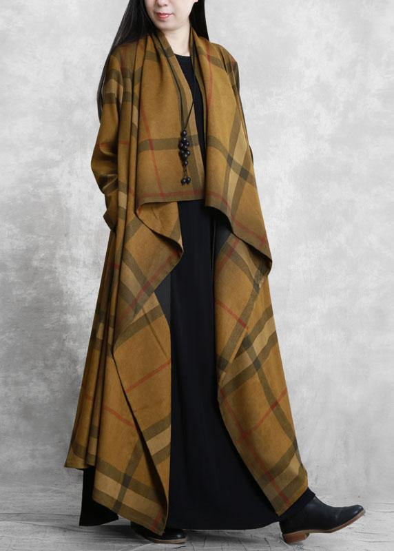 Classy chocolate plaid fine tunic coat Tunic pockets outwears