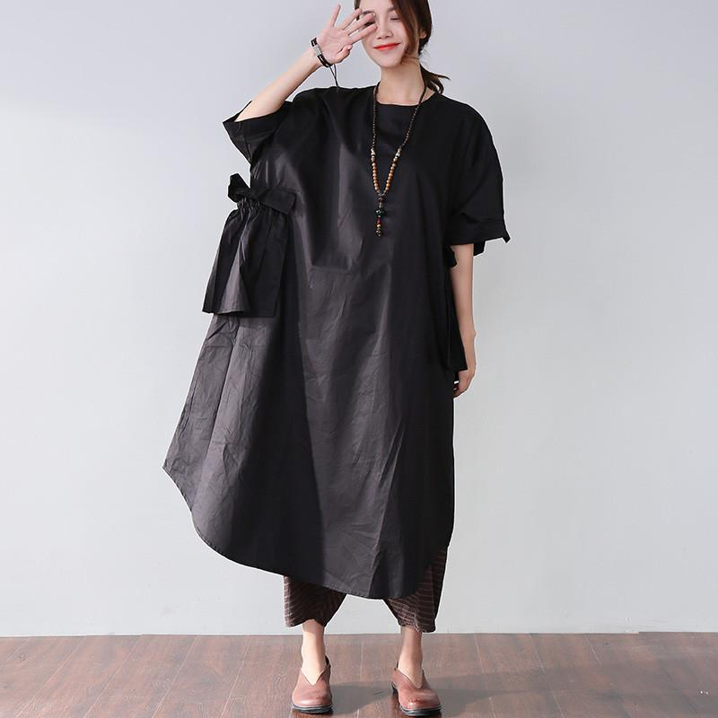 Classy cotton dresses stylish Casual Women Splicing Summer Loose Cotton Pocket Black Dress