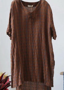 Classy cotton tunic pattern top quality Retro High Low Hem Plaid V-Neck Loose Blouse