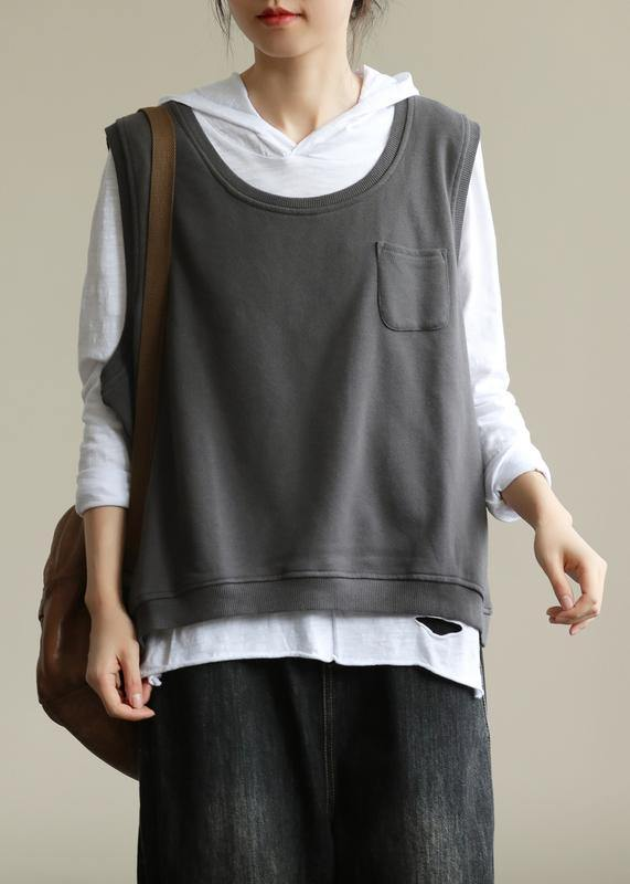 Classy dark gray tops women hooded two pieces oversized fall blouse