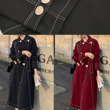 Load image into Gallery viewer, Classy double breast Plus Size winter box coat black Knee coat