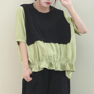 Classy green cotton Blouse o neck patchwork Art shirts
