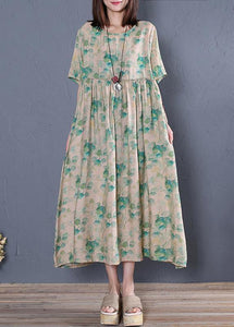 Classy green print cotton tunic dresso neck wrinkled Vestidos De Lino Dresses
