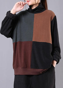 Classy high neck patchwork cotton fall Blouse pattern dark gray shirt