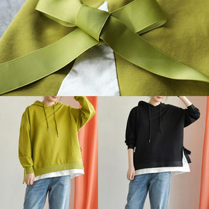 Classy hooded drawstring cotton clothes For Women Work Outfits green tops fall
