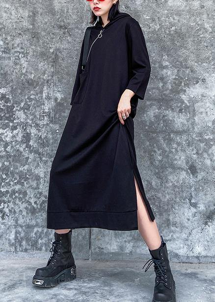 Classy hooded side open spring Wardrobes black Dress
