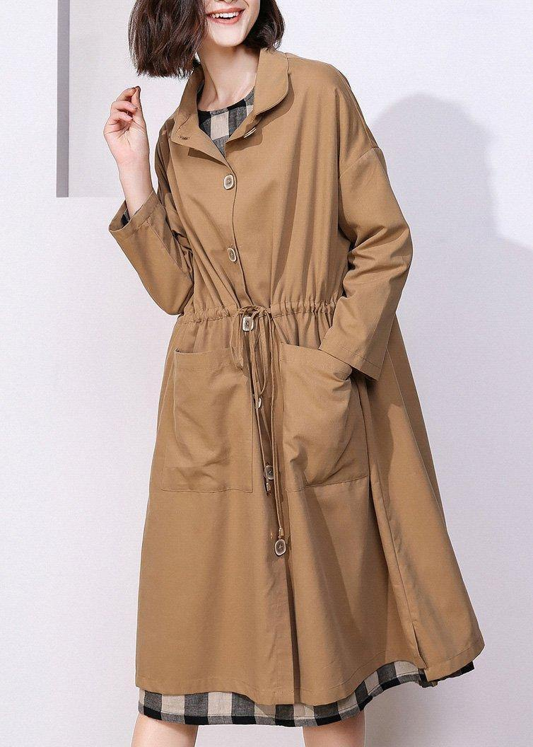 Classy khaki Plus Size clothes For Women Photography drawstring spring coat
