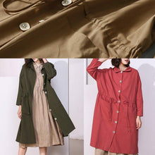 Load image into Gallery viewer, Classy khaki Plus Size clothes For Women Photography drawstring spring coat