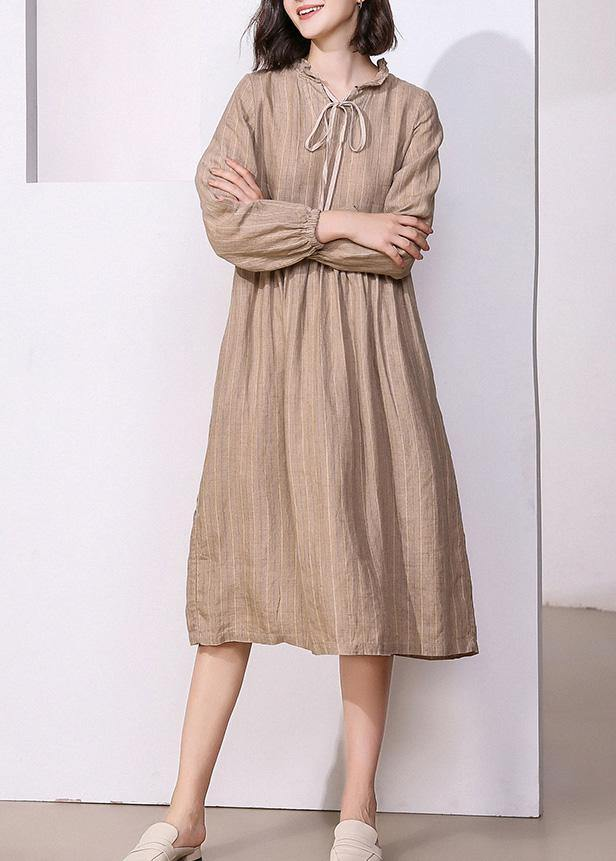 Classy khaki linen dresses v neck Robe high neck Dresses