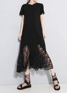 Classy lace patchwork cotton tunic dress Outfits black Art Dress summer hollow out
