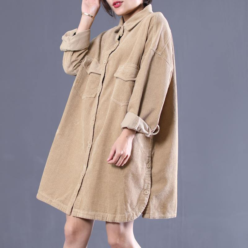 Classy lapel side open Plus Size spring for women khaki loose coats