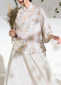 Classy light gray floral  linen Long Shirts flare sleeve silhouette stand collar shirts