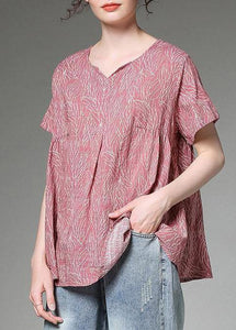Classy linen clothes For Women Fashion Split Neck red Printed Pleated Short Sleeve T-Shirt