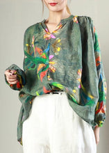 Load image into Gallery viewer, Classy linen crane tops plus size Simple V-Neck Print Long Sleeve Blouse