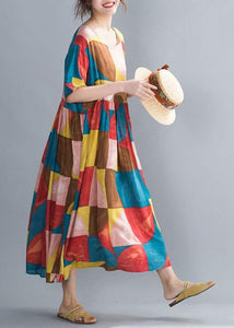 Classy multicolor plaid cotton clothes Women o neck Cinched Kaftan summer Dress
