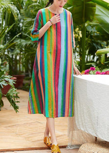 Classy multicolor striped linen clothes For Women o neck pockets summer Dresses