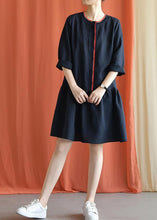 Load image into Gallery viewer, Classy navy linen clothes bracelet sleeved oversized fall Dresses