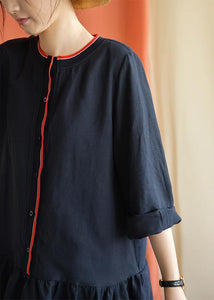 Classy navy linen clothes bracelet sleeved oversized fall Dresses