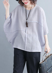 Classy o neck Batwing Sleeve patchwork cotton blended Shirts Women design gray purple baggy tops Summer