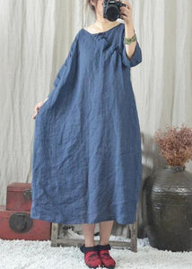 Classy o neck Chinese Button cotton quilting clothes Fashion Ideas blue Dresses