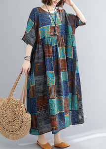 Classy o neck exra large hem cotton linen dresses Runway blue print Dress