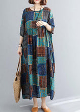 Load image into Gallery viewer, Classy o neck exra large hem cotton linen dresses Runway blue print Dress