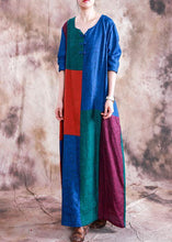Load image into Gallery viewer, Classy o neck linen dress Wardrobes patchwork color Dress fall