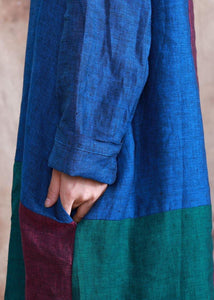 Classy o neck linen dress Wardrobes patchwork color Dress fall
