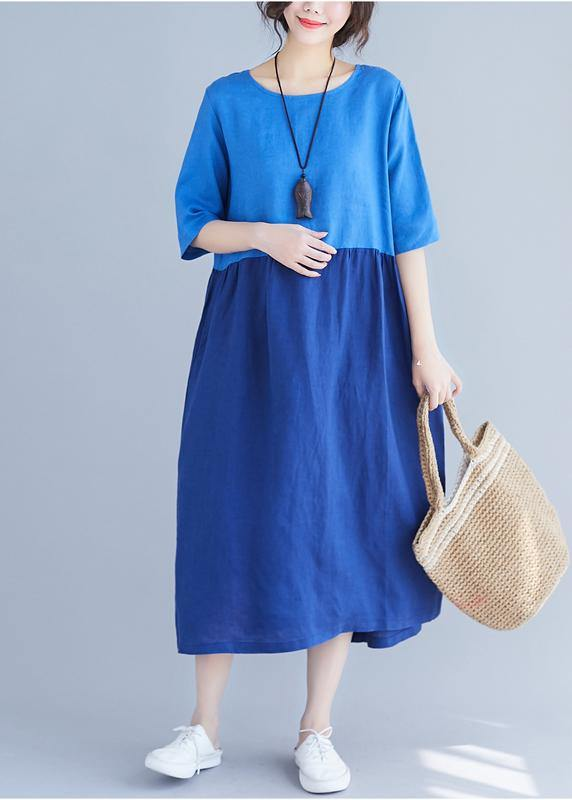 Classy o neck patchwork cotton Wardrobes Work blue loose Dress summer